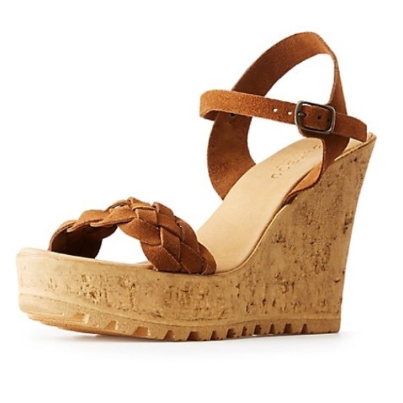 f3f89c398b3 Bamboo brown faux suede cork wedge sandal
